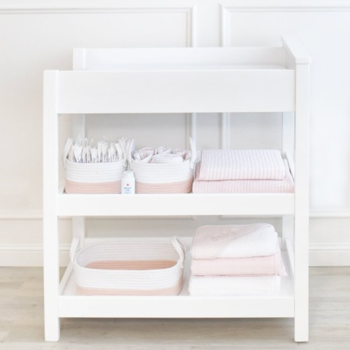 Living Textiles Cotton Rope Nursery Storage Set, 3 Piece (White/Pink)